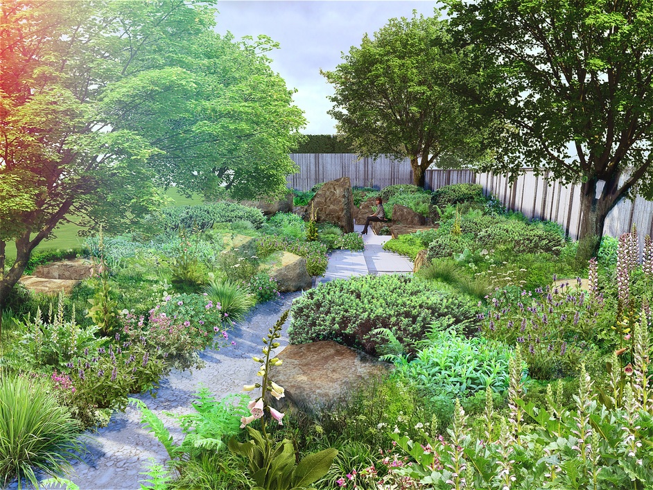 RHS Chelsea Flower Show - RHS Chelsea Flower Show. Mock-up of M&G Garden, 2016, by Cleve West