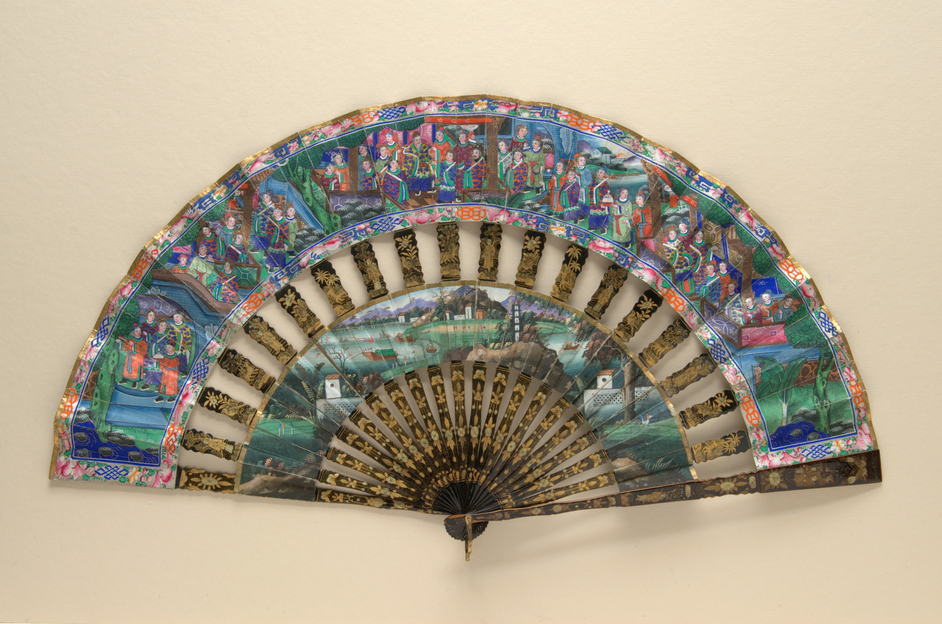 Chinese Export Fans - 'Applied Faces'.  Chinese (export), c.1840s (c)The Fan Museum
