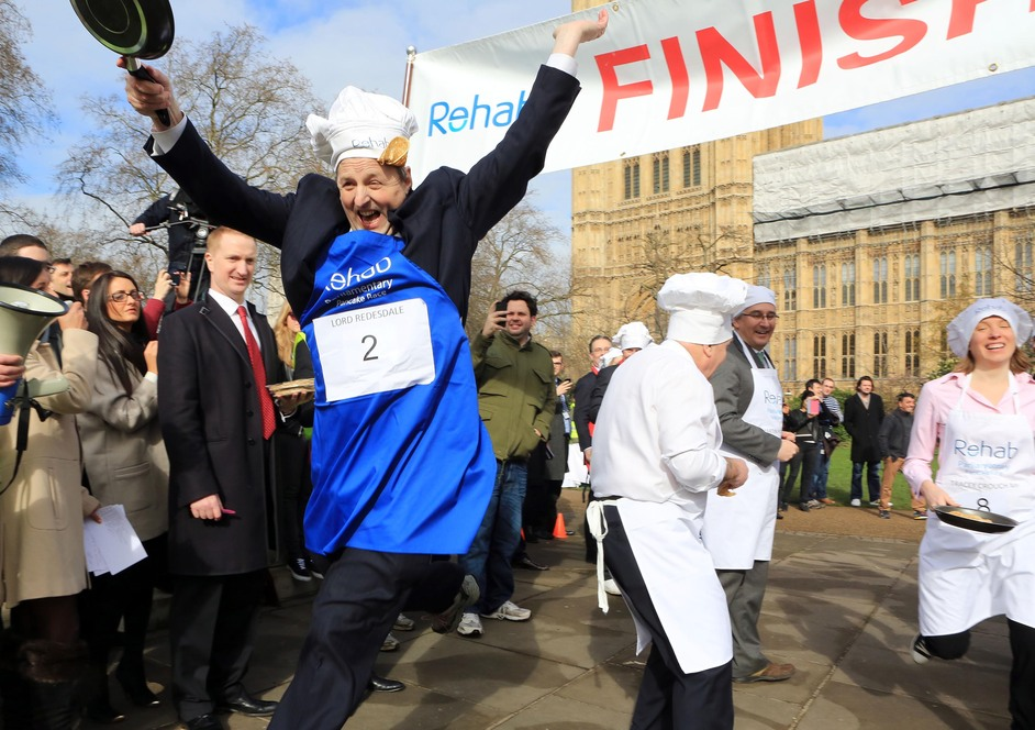 Rehab Parliamentary Pancake Race - Lord Redesdale, House of Lords team, 2014 Rehab Parliamentary Pancake Race