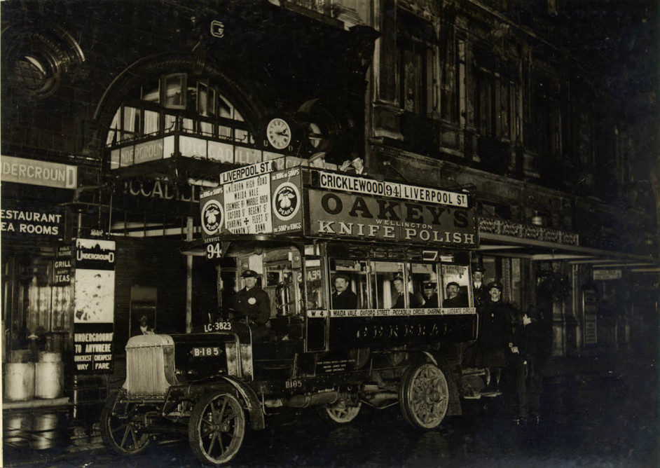Night Shift - First night bus outside Piccadilly station, 1913