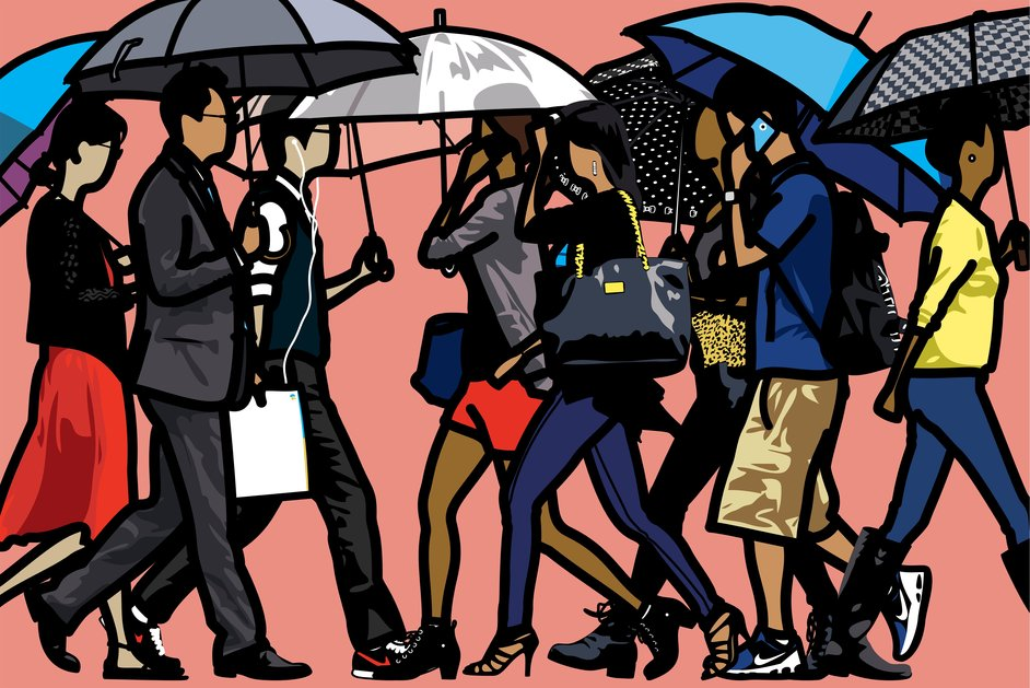 Royal Academy Summer Exhibition - Walking in the rain,Seoul (c)Julian Opie Courtesy Julian Opie & Alan Cristea Gal