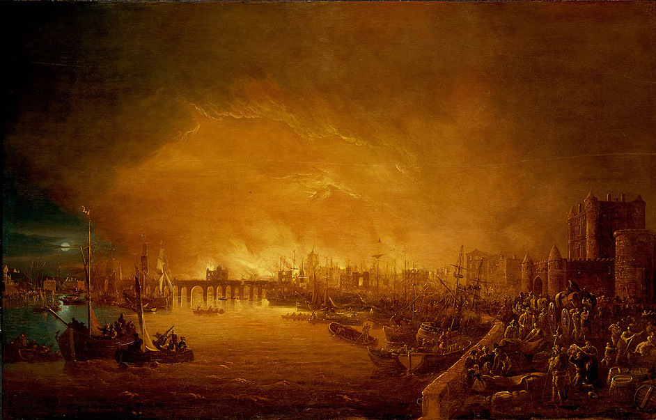 Samuel Pepys: Plague, Fire, Revolution - Painting of 'The Fire of London, September 1666' (c) National Maritime Museum London