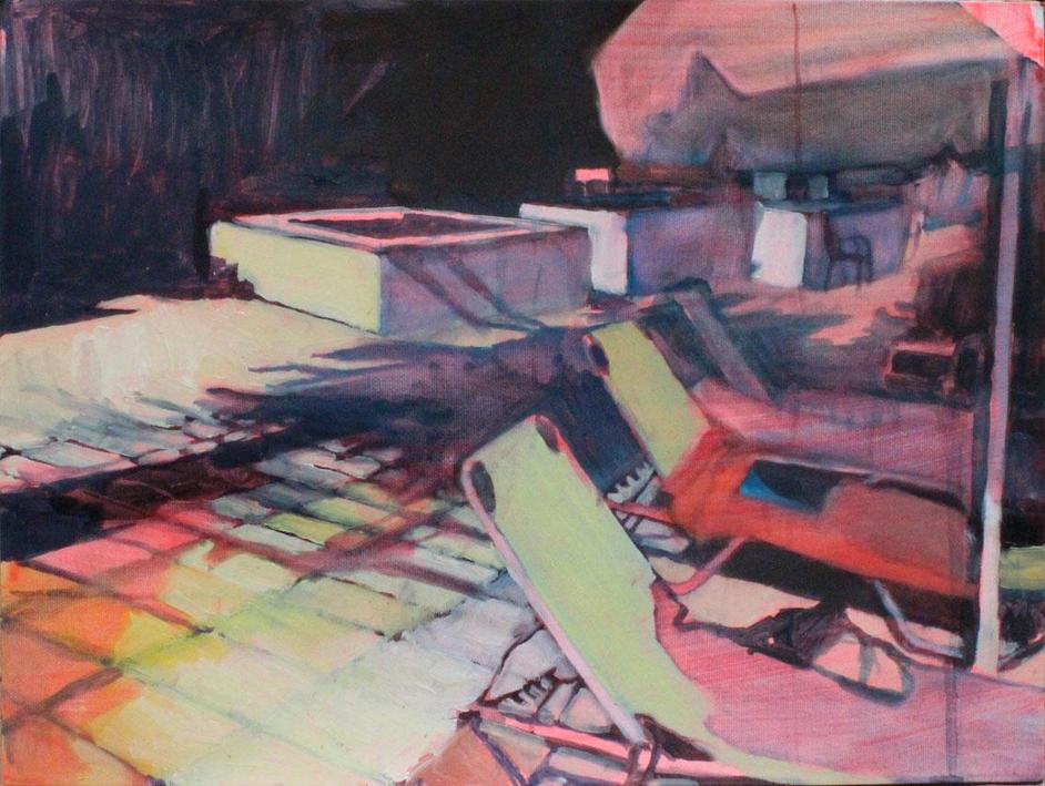 Affordable Art Fair Battersea - Long Shadow by Lucinda Metcalfe. Oil on primed paper, 31 x 41cm, £640 at BEARSPACE