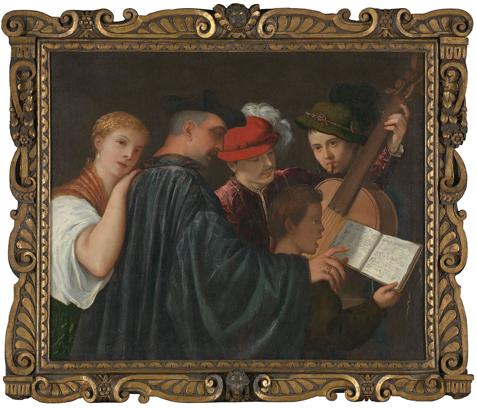 Frames in Focus: Sansovino Frames - The Music Lesson, about 1535, Possibly by Titian (c)The National Gallery, London