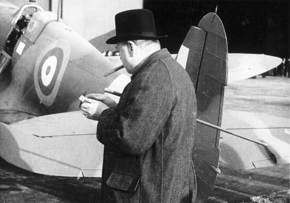 Churchill's Scientists - Churchill with a Spitfire (c)Philip Insley, CBAF Archive, Vickers Archives