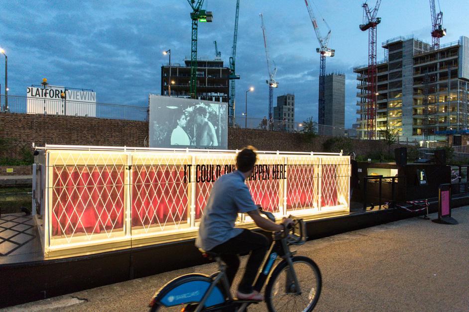 The Floating Cinema: Open Air Weekender: Humans in Space - Floating Cinema, Granary Square Kings Cross, photo Hydar Dewachi