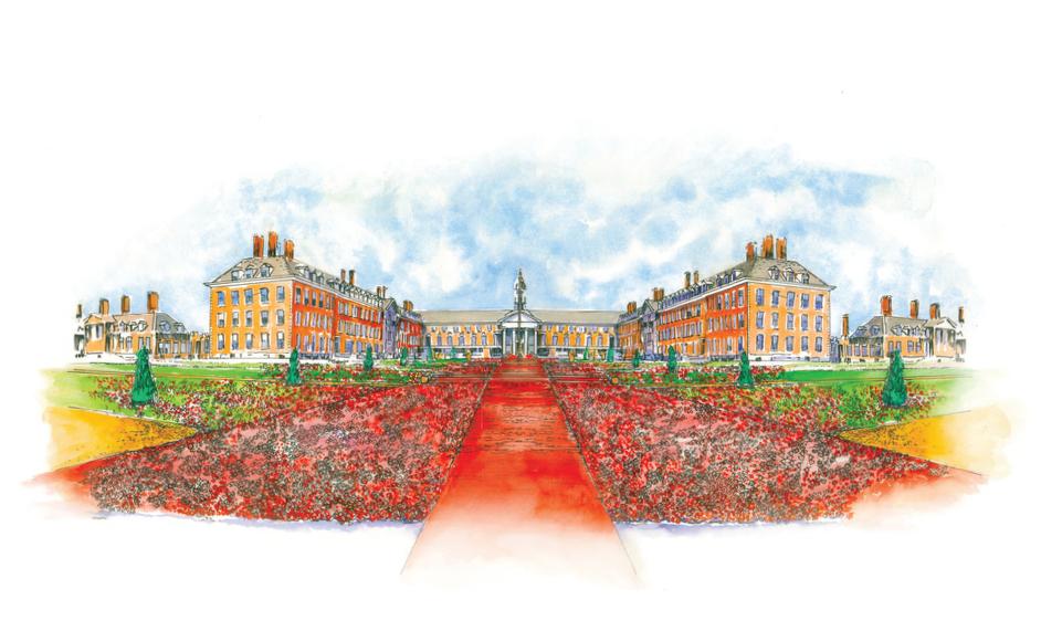 RHS Chelsea Flower Show - 5000 poppies, designer Phillip Johnson, sketch by Phillip Johnson, Chelsea 2016