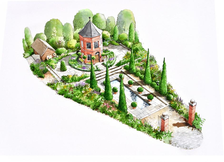 RHS Chelsea Flower Show - Harrods Eccentric British Garden by designer Diarmuid Gavin, Chelsea 2016
