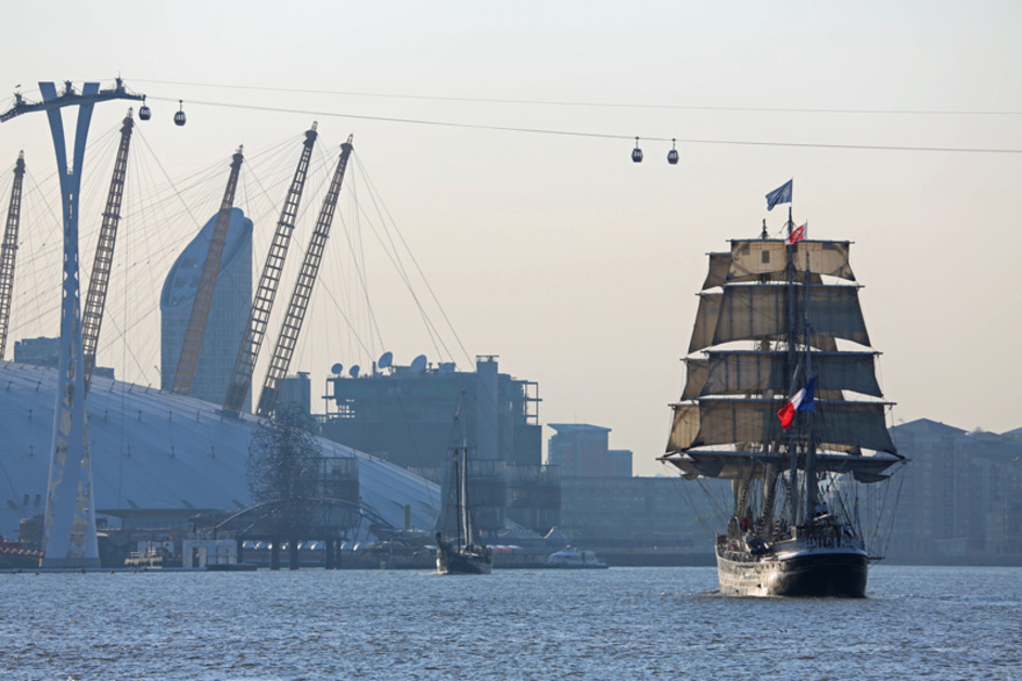 Royal Greenwich Tall Ships - The Belem with The O2 in the background
