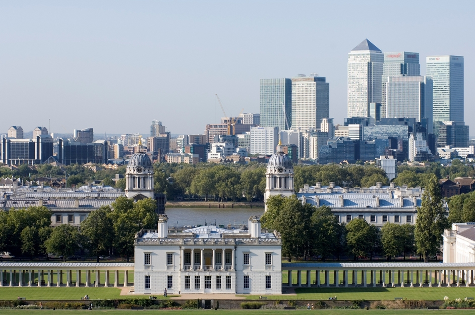 The Queen's House - View of The Queen's House and Canary Wharf (c) National Maritime Museum, London