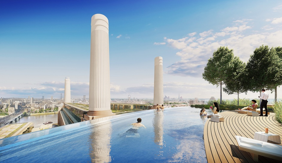Battersea Power Station - Outdoor rooftop pool and bar, art'otel Battersea, 2019