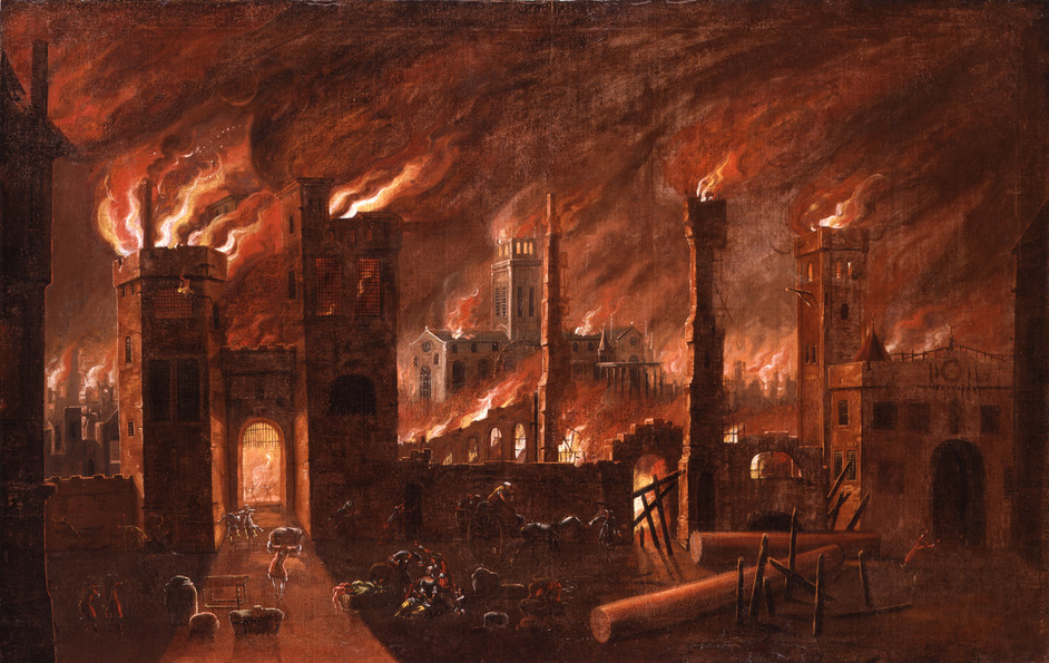 Fire! Fire! - Oil painting of the Great Fire of London, seen from Ludgate (c) Museum of London