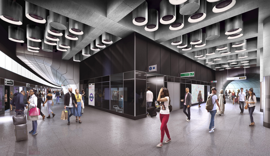 Tottenham Court Road Tube Station - Tottenham Court Road station - proposed platform level at Dean Street entrance, 2018