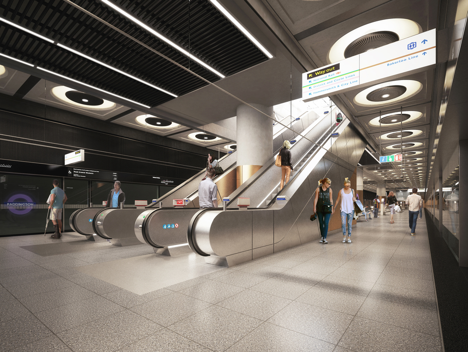 Paddington Tube Station - Paddington Station, CGI - platform level, 2018