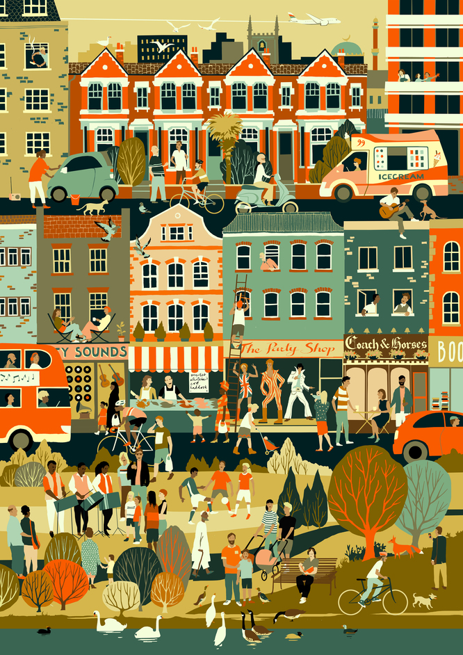 Prize for Illustration 2017: Sounds of the City - Image by Eliza Southwood, Bronze Winner, Prize for Illustration 2015