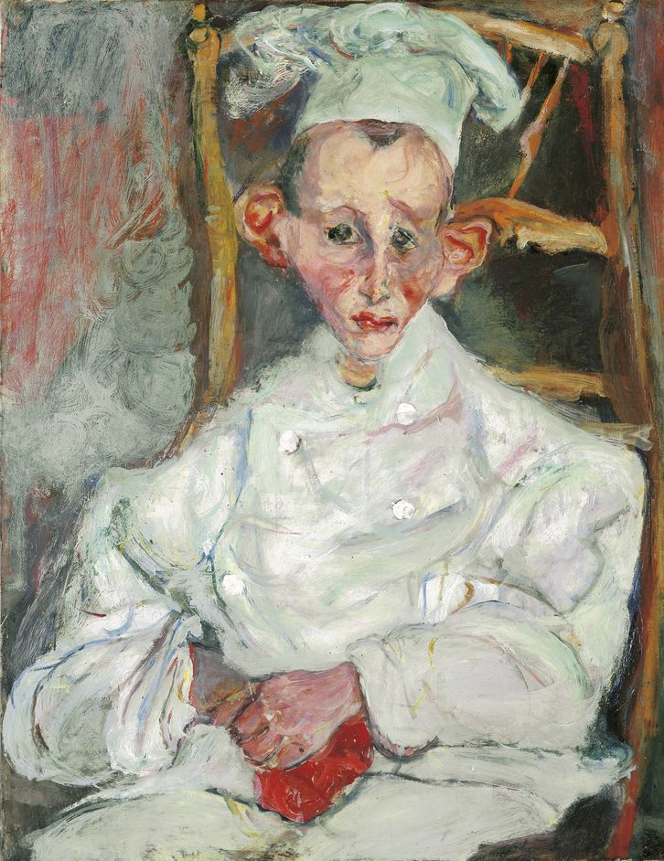 Soutine's Portraits: Cooks, Waiters And Bellboys - Pastry Cook of Cagnes (Le pa?tissier de Cagnes), 1922, Chaim Soutine, (c) Courtauld Gallery,  Museum of Avant-Garde Mastery of Europe (MAGMA of Europe)