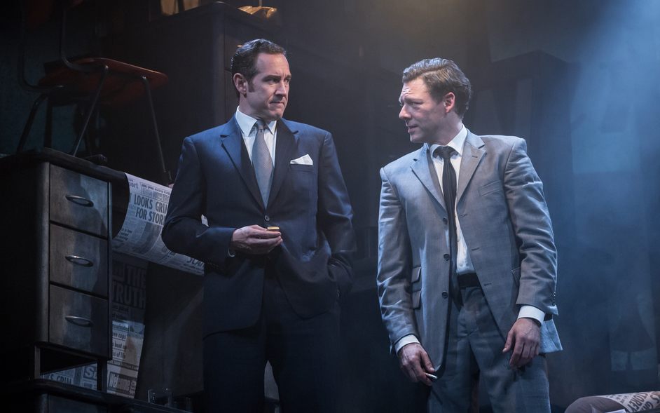 Ink - Bertie Carvel (Rupert Murdoch) and Richard Coyle (Larry Lamb). Photo: Marc Brenner