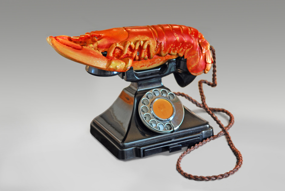 Dali/Duchamp - Salvador Dali and Edward James, Lobster Telephone (red), 1938. Photo: West Dean College, part of Edward James Foundation / © Salvador Dali, Fundacio Gala-Salvador Dali, DACS 2017