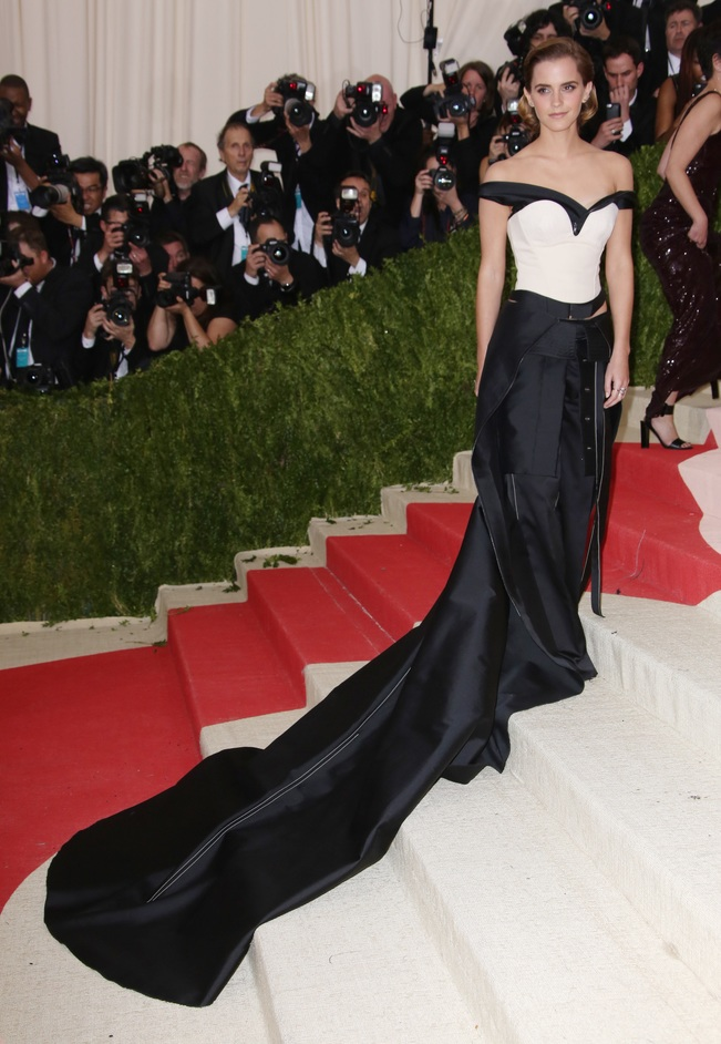 Fashioned From Nature - Calvin Klein Green Carpet Challenge dress worn by Emma Watson to the MET Gala 2016 Photo by Dimitrios Kambouris/Getty Images