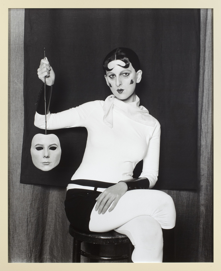 Gillian Wearing And Claude Cahun: Behind The Mask, Another Mask - Me as Cahun holding a mask of my face (c) Gillian Wearing, courtesy Maureen Paley