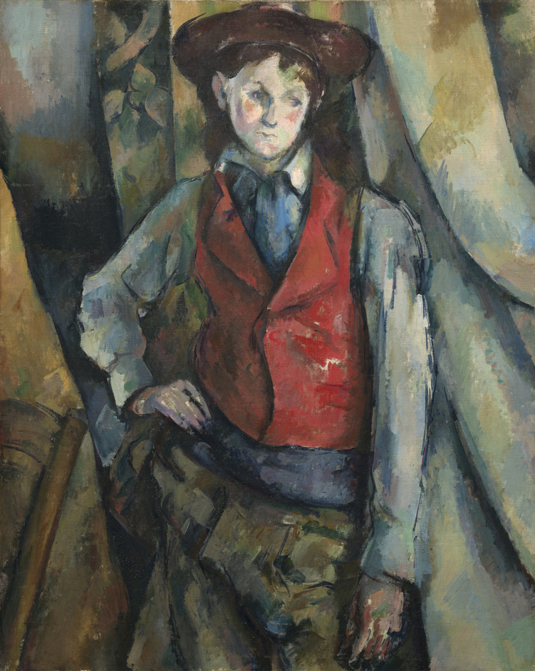 Cezanne Portraits - Boy in a Red Waistcoat, 1888-90 Paul Cézanne (c)National Gallery of Art, Washington.