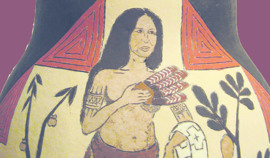 Pocahontas And After: Cultural Day - Detail of the Pocahontas '17 painted gourd by Ethan Brown.Courtesy Big Ideas Company