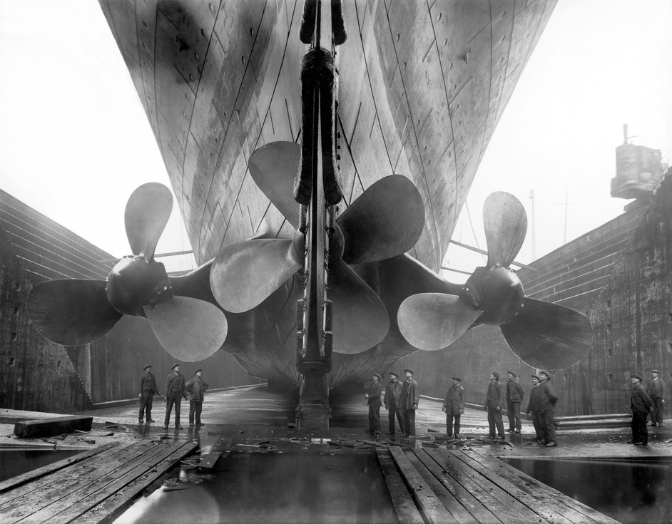 Ocean Liners: Speed & Style - Titanic in dry dock c.1911. Photo: Getty Images