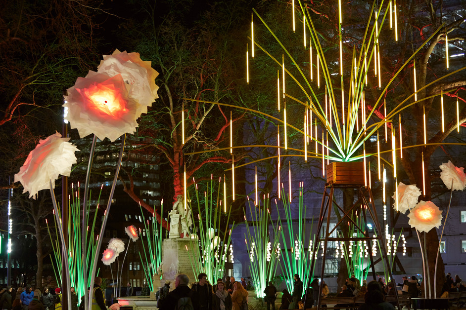 Lumiere London - Garden of Light, TILT,  Lumiere London 2016. Produced by Artichoke, supported by the Mayor of London. Photo by Matthew Andrews