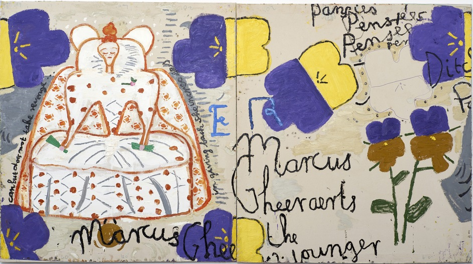 Rose Wylie - Rose Wylie, Queen with Pansies (Dots), 2016, Oil on canvas, 183 x 331 cm, Courtesy the artist, Photo: Soonhak Kwon