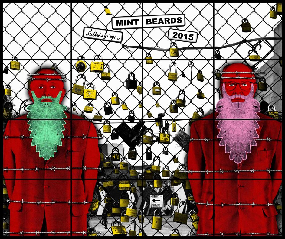 Gilbert & George: The Beard Pictures And Their Fuckosophy - Gilbert & George Mint Beards 2015 (c) Gilbert & George Courtesy White Cub