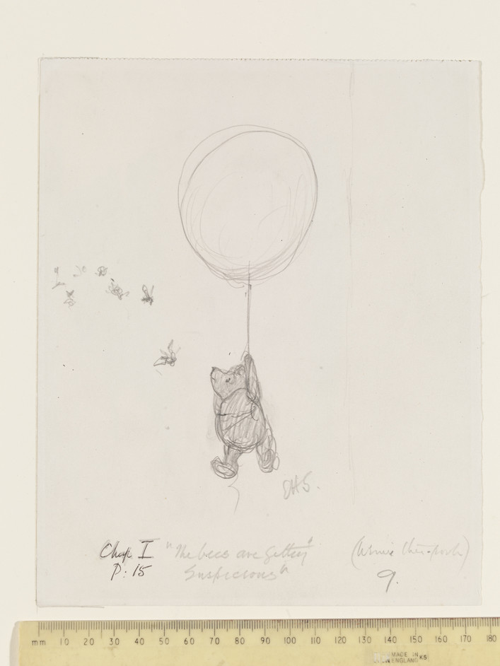 Winnie-The-Pooh: Exploring A Classic - Title: 'The bees are getting suspicious', Winnie-the-Pooh chapter 1, pencil drawing by E.  H. Shepard. © The Shepard Trust