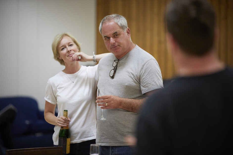 Oslo - L-R: Geraldine Alexander and Howard Ward in rehearsal for Oslo - photo by Brinkhoff Moogenberg