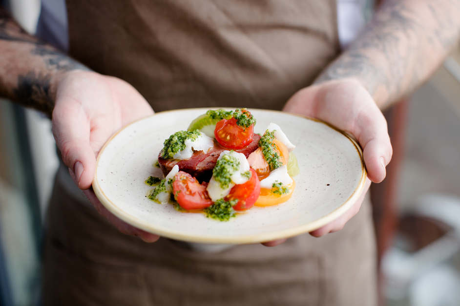 Cornerstone - Ox tongue, salt cod, tomatoes, gremolata. Photo: Cedar Film