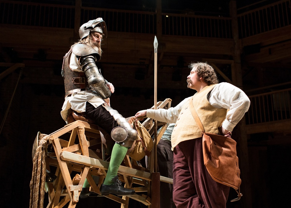 Don Quixote - David Threlfall and Rufus Hound, Don Quixote, 2016 production at the Swan Theatre. Photo by Helen Maybanks © RSC