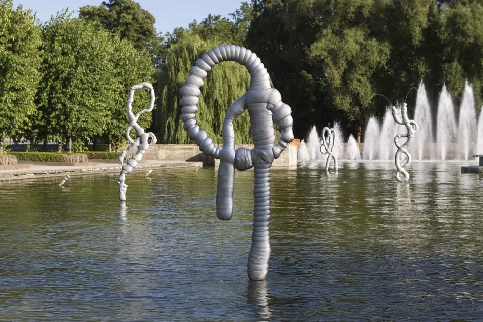 Battersea Park - Nicolas Deshayes at the Pleasure Gardens, 4 July to 16 September 2018, cast aluminium, stainless steel and water, installation view. Photo: Eoin Carey. Courtesy the artist and Pump House Gallery
