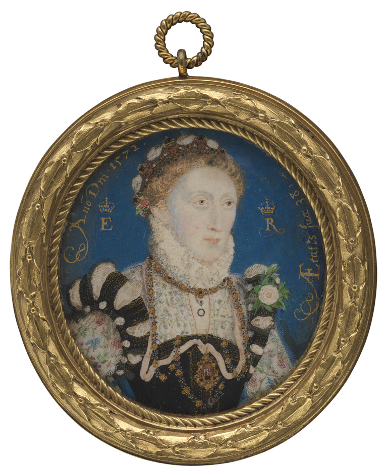 Elizabethan Treasures: Miniatures by Hilliard and Oliver - Queen Elizabeth I by Nicholas Hilliard, 1572, Purchased, 1860 © National Portrait Gallery, London