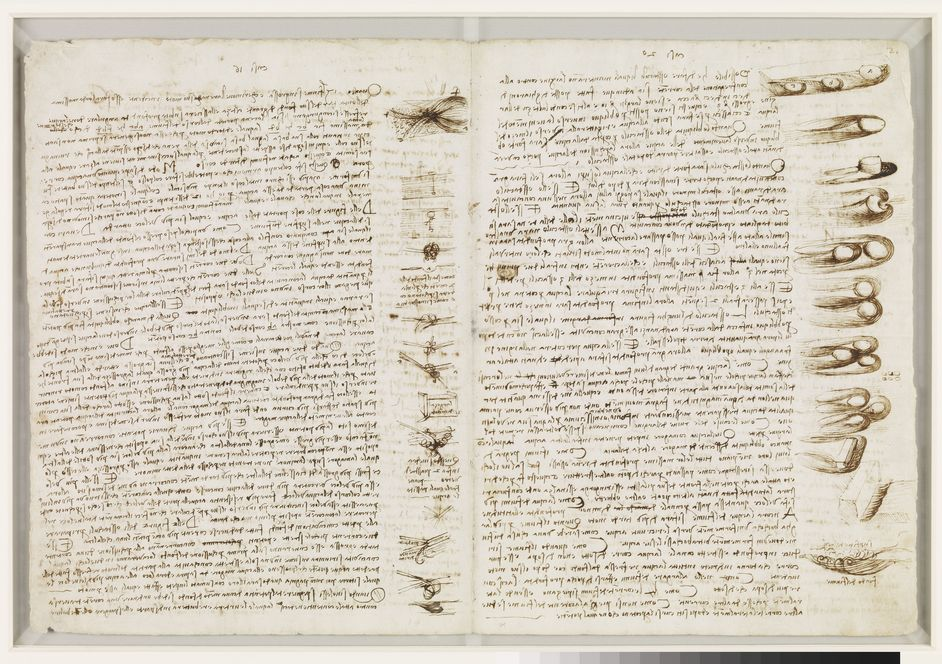 Leonardo da Vinci: A Mind in Motion - Studies on the use of obstacles... Seattle, Bill Gates Collection, Codex Leicester