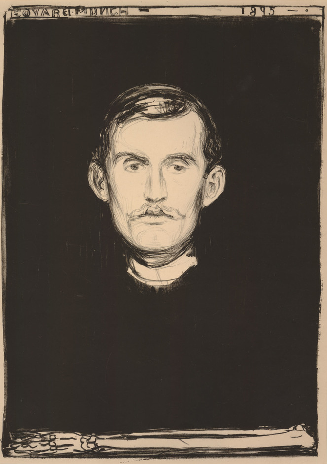 Edvard Munch: love and angst - Self-portrait with skeleton arm, Edvard Munch, 1895 © Trustees of the British Museum
