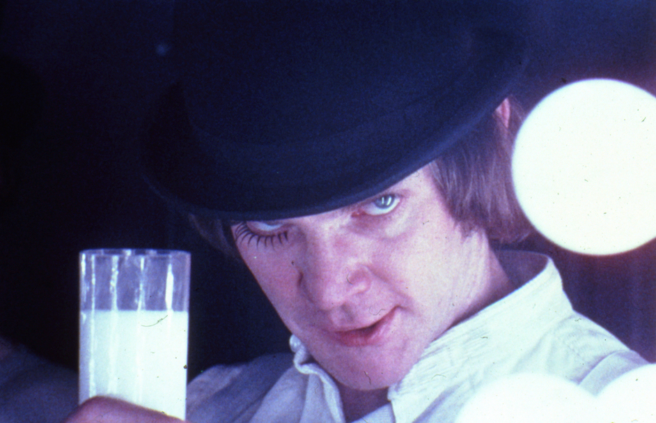 Stanley Kubrick: The Exhibition - A Clockwork Orange, directed by Stanley Kubrick (1970-71; GB/United States). Alex DeLarge (Malcolm McDowell) in the Korova Milkbar. Still image © Warner Bros. Entertainment Inc.