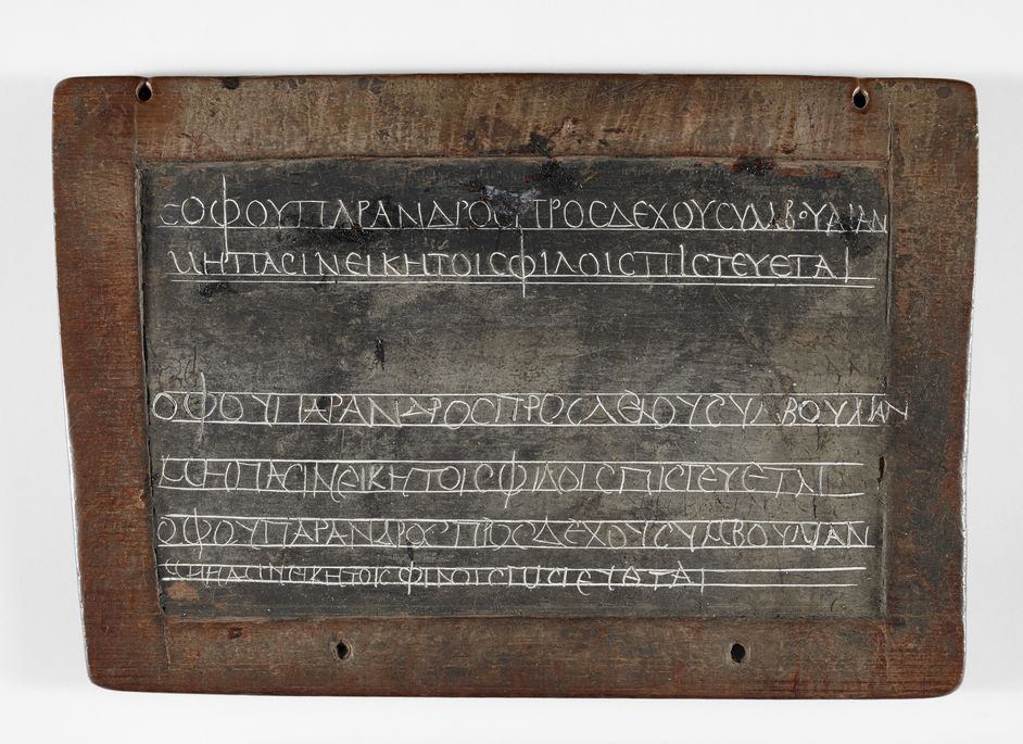 Writing: Making Your Mark - Schoolchild's homework in Greek on a wax tablet c British Library