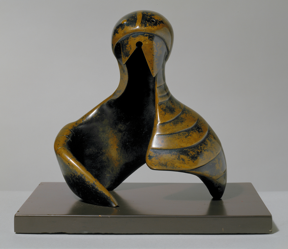 Henry Moore: The Helmet Heads - Helmet Head and Shoulders 1952. Photo ©Tate, London 2018. Artwork reproduced by permission of The Henry Moore Foundation