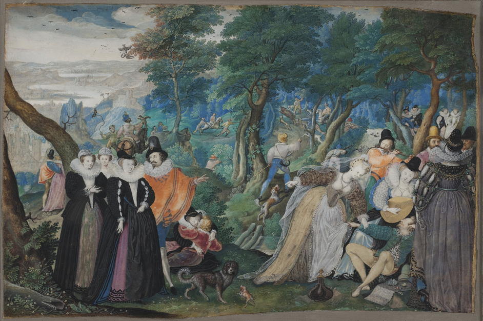 Elizabethan Treasures: Miniatures by Hilliard and Oliver - A Party in the Open Air. Allegory on Conjugal Love by Isaac Oliver, 1590-95 © Statens Museum for Kunst - National Gallery of Denmark
