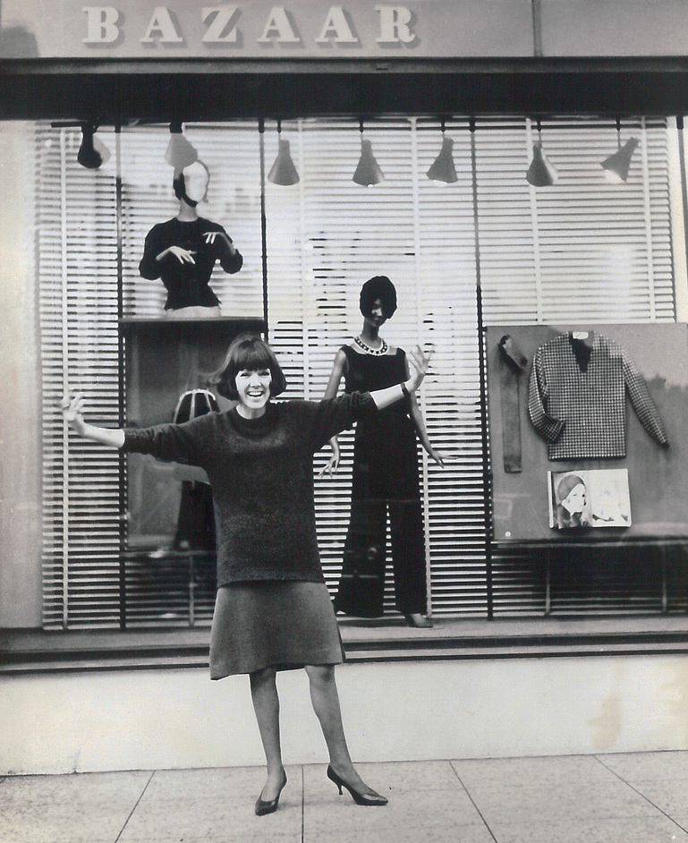 Swinging London: A Lifestyle Revolution / Terence Conran - Mary Quant - Mary Quant outside her shop Bazaar on the Kings Road, 1960s. Vintage Publicity Photograph, Courtesy of a Private Collection.