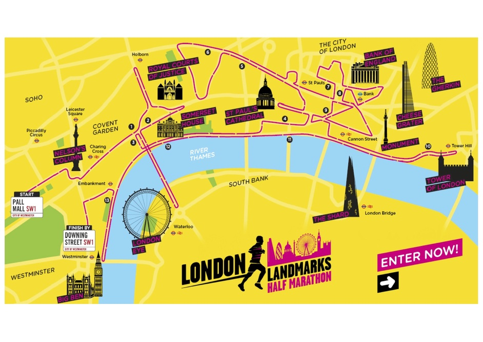 London Landmarks Map.London Landmarks Half Marathon At Downing Street Westminster