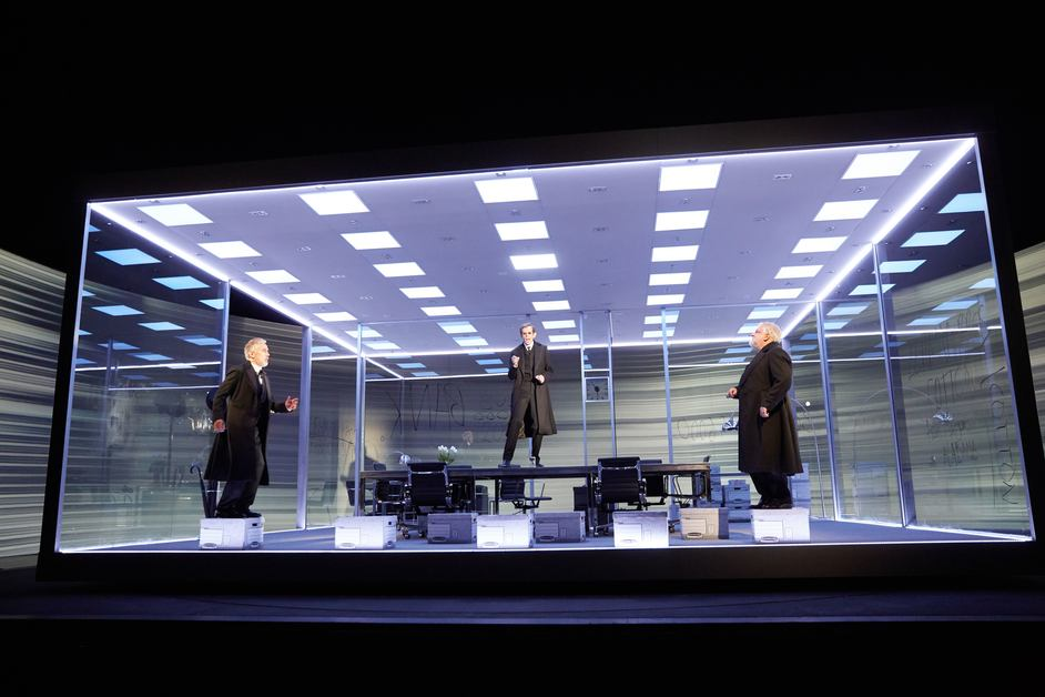 The Lehman Trilogy - Ben Miles, Adam Godley and Simon Russell Beale in The Lehman Trilogy at the National Theatre. Photo by Mark Douet.