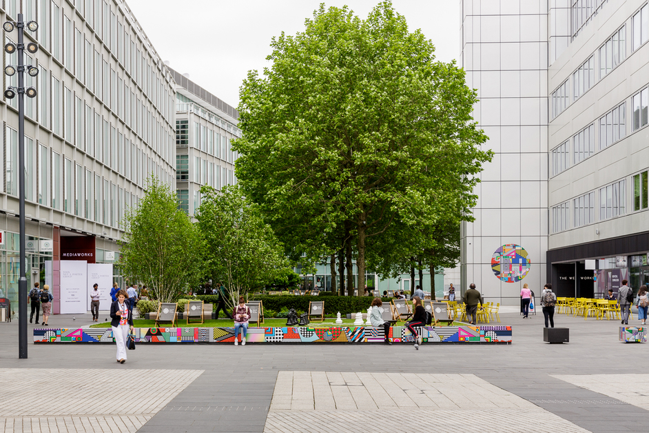 White City Place - White City Place, Kyung Hwa Shon, Every Second In Between, May 2018, Vinyl Stickers Installation Street Furniture, photo: Tim Bowditch