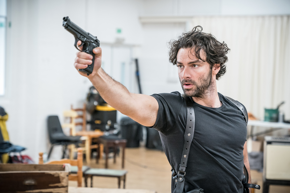 The Lieutenant Of Inishmore - Aidan Turner (Padraic), rehearsal photo by Marc Brenner