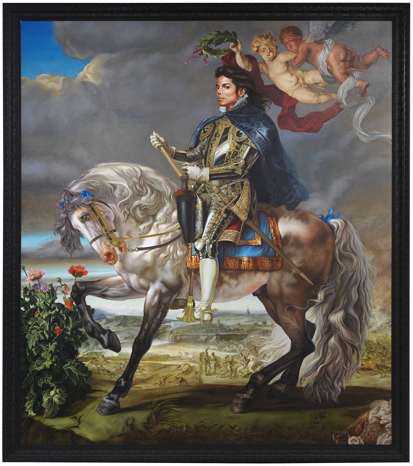 Michael Jackson: On the Wall - Equestrian Portrait of King Philip II (Michael Jackson) by Kehinde Wiley 2010. Olbricht Collection, Berlin © Kehinde Wiley - photo by Jeurg Iseler