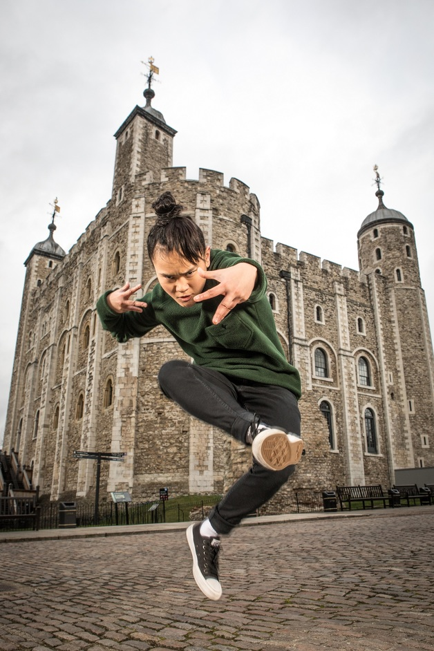 LIFT Festival - Performer from East London Dance, Tower of London - the setting for East Wall by Hofesh Shechter. Photo: Victor Frankowski