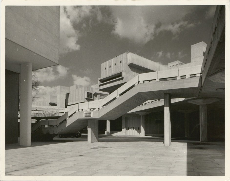Southbank Centre: Queen Elizabeth Hall - Photograph of concrete stairs to Belvedere Road, 1968 (GLC)